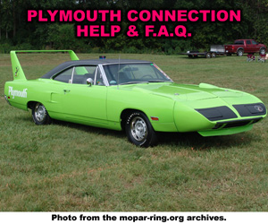 Plymouth Vehicle Enthusiast Connection Help